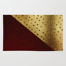 Red Leather look & gold polka Rug