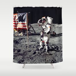 Salute on the Moon Shower Curtain