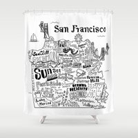 san francisco map Shower Curtains featuring San Francisco Map Illustration by Claire Lordon