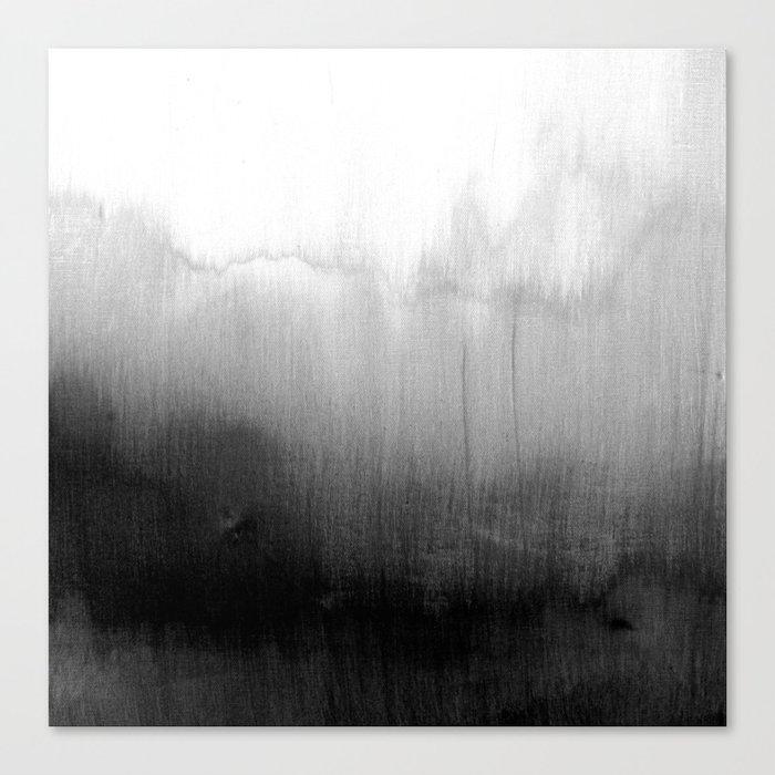 Modern Black and White Watercolor Gradient Leinwanddruck