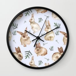 Bunnies and Leaves (Blue) Wall Clock