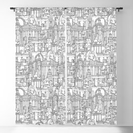 Ancient Greece black white Blackout Curtain
