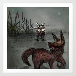 The Wolf and the Seven Kids Art Print