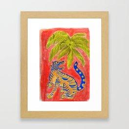 Tiger under palm Framed Art Print