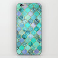 moroccan iPhone & iPod Skins featuring Cool Jade & Icy Mint Decorative Moroccan Tile Pattern by micklyn