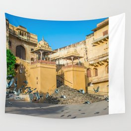 Pigeons at Amer Fort, Jaipur Wall Tapestry