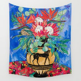 Tropical Protea Bouquet with Toucans in Greek Horse Urn on Ultramarine Blue Wall Tapestry