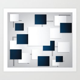 BLACK AND WHITE SQUARES ON A GRAY BACKGROUND Abstract Art Art Print