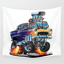 Classic Fifties Hot Rod Muscle Car Cartoon Wall Tapestry