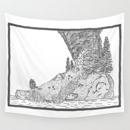 Fire on Foot Island Wall Tapestry