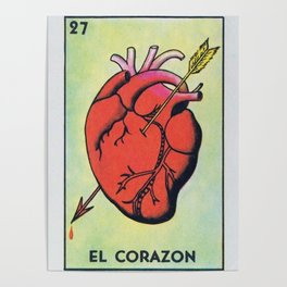 Vintage El Corazon Tarot Card Heart Love Artwork, Design For Prints, Posters, Bags, Tshirts, Poster