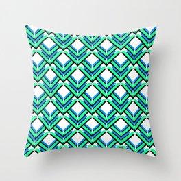 Blue Green Pattern Throw Pillow