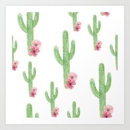 Cactus Pink Flower Pattern Art Print