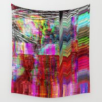 glitch Wall Tapestries featuring Doodle Glitch by Nina May Designs