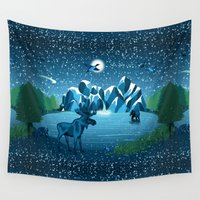 fireflies Wall Tapestries featuring Fireflies Like Stars by Strange Charm