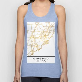 QINGDAO CHINA CITY STREET MAP ART Unisex Tank Top