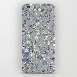 drawing of seamless patchwork pattern with viola flowers iPhone Skin