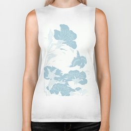 japanese Flowers White and Blue Biker Tank