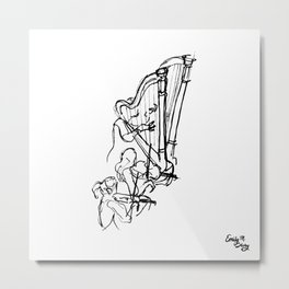 Harp in the Symphony Metal Print