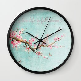 Live life in full bloom - Romantic Spring Cherry Blossom butterfly Watercolor illustration on aqua Wall Clock