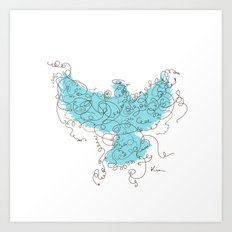 Bird Fly 3 - Aqua/Brown Art Print