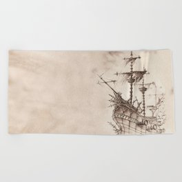 Haunted Ship Beach Towel