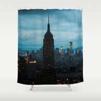 new york skyline Shower Curtains featuring Skyline New York by Chelsea Victoria