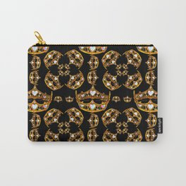 Queen of Hearts gold crown tiara scattered pattern by Kristie Hubler with black background Carry-All Pouch