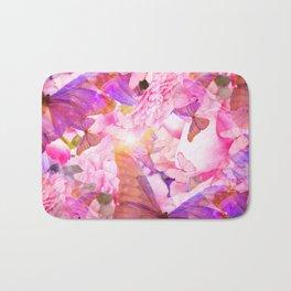 A Summer Dream Where Pink And Violet Butterflies Flying #decor #society6 #pivivikstrm Bath Mat