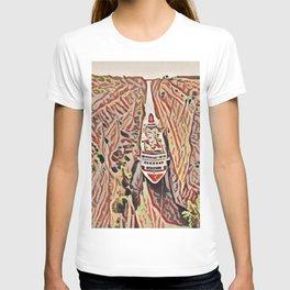 Greece Corinth Canal Artistic Illustration Rocky Terrain Style T-shirt