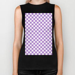 White and Lavender Violet Checkerboard Biker Tank