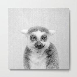 Lemur - Black & White Metal Print