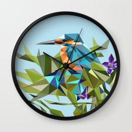 Common Kingfisher (halcyon) in Triangles Wall Clock