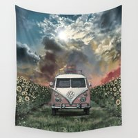 60s Wall Tapestries featuring summer by Bekim ART