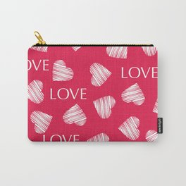 Seamless white hearts retro Valentines day red pattern romantic vintage Carry-All Pouch
