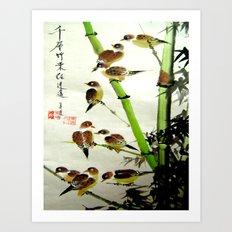 nine sparrows Art Print