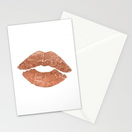 Rose gold kiss on the lips Stationery Cards
