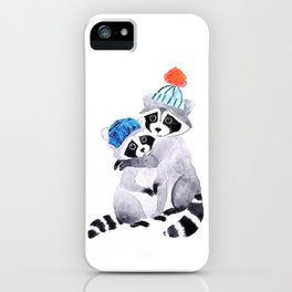 Hugging racoons iPhone Case