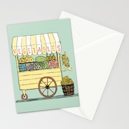 Veggie Cart on Mint Stationery Cards