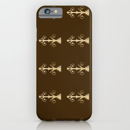 Door hinges pattern brown and gold iPhone Case