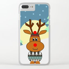 Reindeer in snow Clear iPhone Case