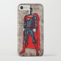 man of steel iPhone & iPod Cases featuring Steel Man by UvinArt