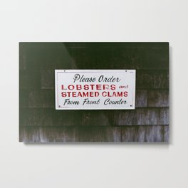 Lobster Sign in Maine Metal Print