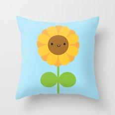 Kawaii Sunflower Throw Pillow