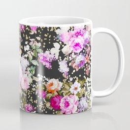 Elegant vintage bright pink floral faux gold confetti Coffee Mug
