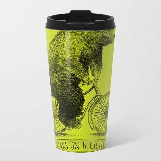 Bears on Bicycles (Lime) Metal Travel Mug