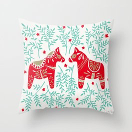 Swedish Dala Horses – Red & Mint Palette Throw Pillow