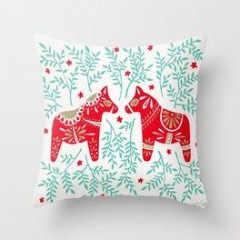 Swedish Dala Horses – Red & Mint Palette Throw Pillow