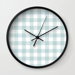 Charcoal Sky Checker Gingham Plaid Wall Clock