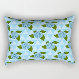Blue Detailed Floral Pattern With Hydrangea Flowers Rectangular Pillow